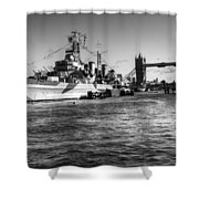 Hms Belfast And Tower Bridge 2 In Black And White Shower Curtain