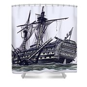 Hms Victory After The Battle Of Trafalgar, With Mizzen Topmast Shot Away Shower Curtain