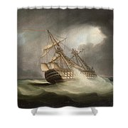 H.m.s. Victory In Full Sail And In A Squall Shower Curtain