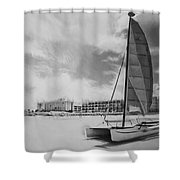 Hobie Black And White Shower Curtain