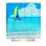 Hobie Sailing Off Lido Beach Coast Shower Curtain