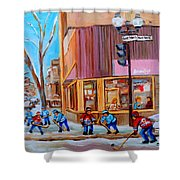 Hockey At Beautys Deli Shower Curtain by Carole Spandau
