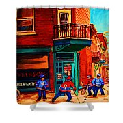 Hockey At Wilenskys Corner Shower Curtain