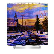Hockey Game In The Village Shower Curtain by Carole Spandau