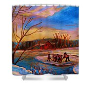 Hockey Game On Frozen Pond Shower Curtain