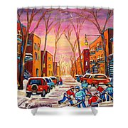 Hockey On Hotel De Ville Street Shower Curtain