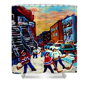 Hockey Paintings Of Montreal St Urbain Street City Scenes Shower Curtain