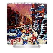 Hockey Paintings Of Montreal St Urbain Street Winterscene Shower Curtain