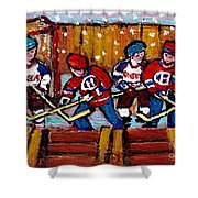 Hockey Rink Paintings New York Rangers Vs Habs Original Six Teams Hockey Winter Scene Carole Spandau Shower Curtain