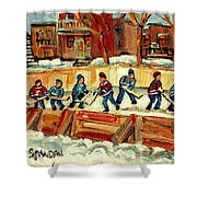 Hockey Rinks In Montreal Shower Curtain by Carole Spandau