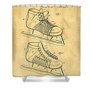 Hockey Skates Patent Art Blueprint Drawing Shower Curtain