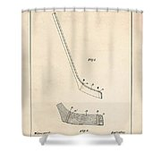 Hockey Stick Patent - Patent Drawing For The 1901 W. Dean Hockey Stick Shower Curtain