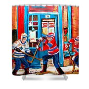 Hockey Sticks In Action Shower Curtain