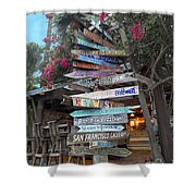 Hogfish Bar And Grill Directional Sign Shower Curtain