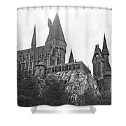 Hogwarts Castle Black And White Shower Curtain