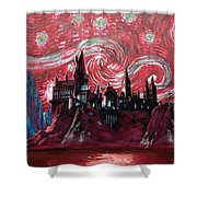 Hogwarts Starry Night In Red Shower Curtain