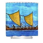 Hokulea Hawaiian Ocean Going Outrigger Canoe #49 Shower Curtain