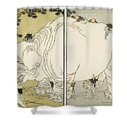 Hokusai: Elephant Shower Curtain by Granger