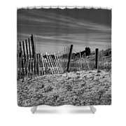 Holding Back The Dunes In Black And White Shower Curtain