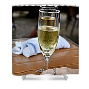 Holding Champagne Glass In Hand Shower Curtain