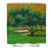 Hole 14 Split The Difference Shower Curtain