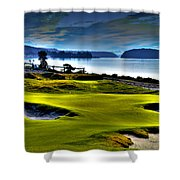Hole #17 At Chambers Bay Shower Curtain