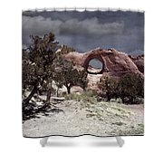 Hole In The Wall Mindscape Shower Curtain