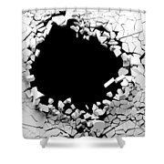 Hole On A Broken White Wall Blank Space. 3d Illustration. Shower Curtain
