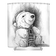 Holiday Bear Shower Curtain by Joe Winkler