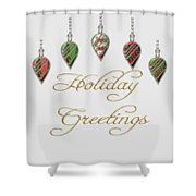 Holiday Greetings Merry Christmas Shower Curtain