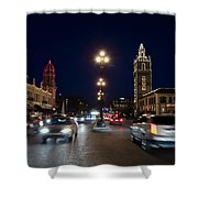 Holiday In Motion On The Plaza Shower Curtain