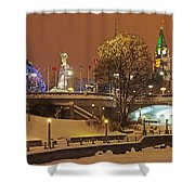 Holiday In Ottawa - Parliament And Peace Tower Night Lights Shower Curtain