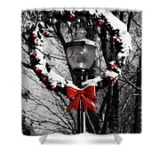 Holiday Lamp Post Shower Curtain
