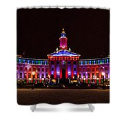 Holiday Light Panorama Of The Denver City And County Building Shower Curtain