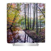 Holiday Park Lake At Dusk Shower Curtain