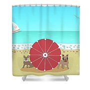 Holiday Romance Behind The Red Umbrella Shower Curtain