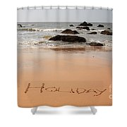 Holiday Written In The Sand Shower Curtain
