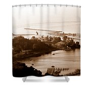 Holland Michigan Harbor Big Red Aerial Photo Shower Curtain
