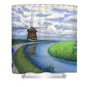 Holland Windmill Bike Path Shower Curtain