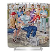 Hollow Guitar Player Shower Curtain