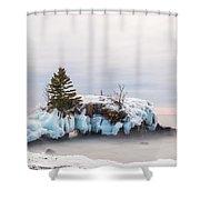 Hollow Rock Winter Shower Curtain