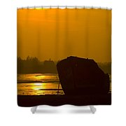 Holly Hill Wreck Sunset Shower Curtain