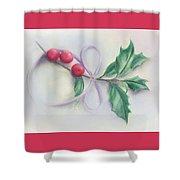 Holly Sprig With Bow Shower Curtain
