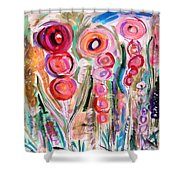 Hollyhocks Of The Garden Shower Curtain by Mary Carol Williams