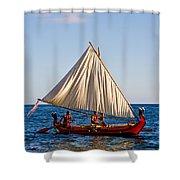 Holokai - Pacific Islander Sailing Canoe Shower Curtain