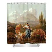 Holy Family At A Stream Shower Curtain by Karel Dujardin