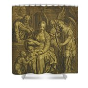 Holy Family With Angels Shower Curtain