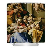 Holy Family With Saint Anne Catherine Of Alexandria And Mary Magdalene Shower Curtain