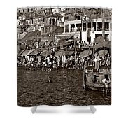 Holy Ganges Monochrome Shower Curtain