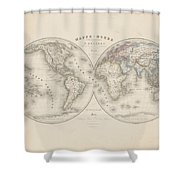 Homalographic World Map  Shower Curtain